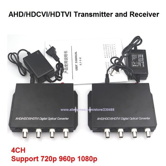 Fibra óptica convertidor de vídeo de 1080 P HD CVI TVI AHD, 4 Canales de Vídeo Óptica Monomodo 20 KM Conveter