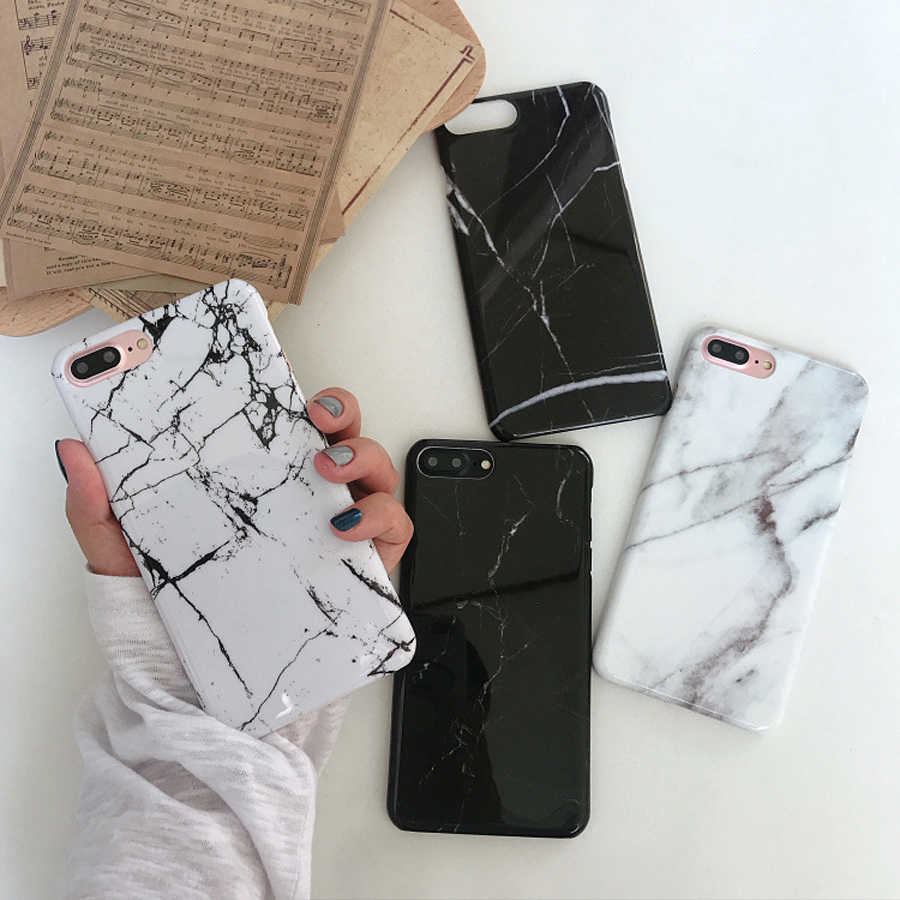 Fashion Brand Marble Phone Case For iphone X Xs Max Xr Case For iphone 6 S 7 6Plus 6S 7Plus 8 8Plus Hard Cover Black White Coque