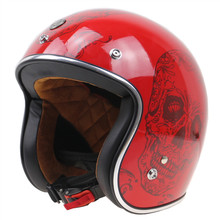 2017 New Arrival Red Skull motorcycle helmet 3 4 open face motorbike helmet for Geniune Rider