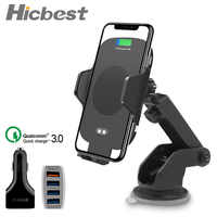 10W Fast Charging Qi Wireless Car Charger Auto Clamping Infrared Sensor Phone Holder For iPhone X XS XR Max 8 Samsung S8 S9 S10