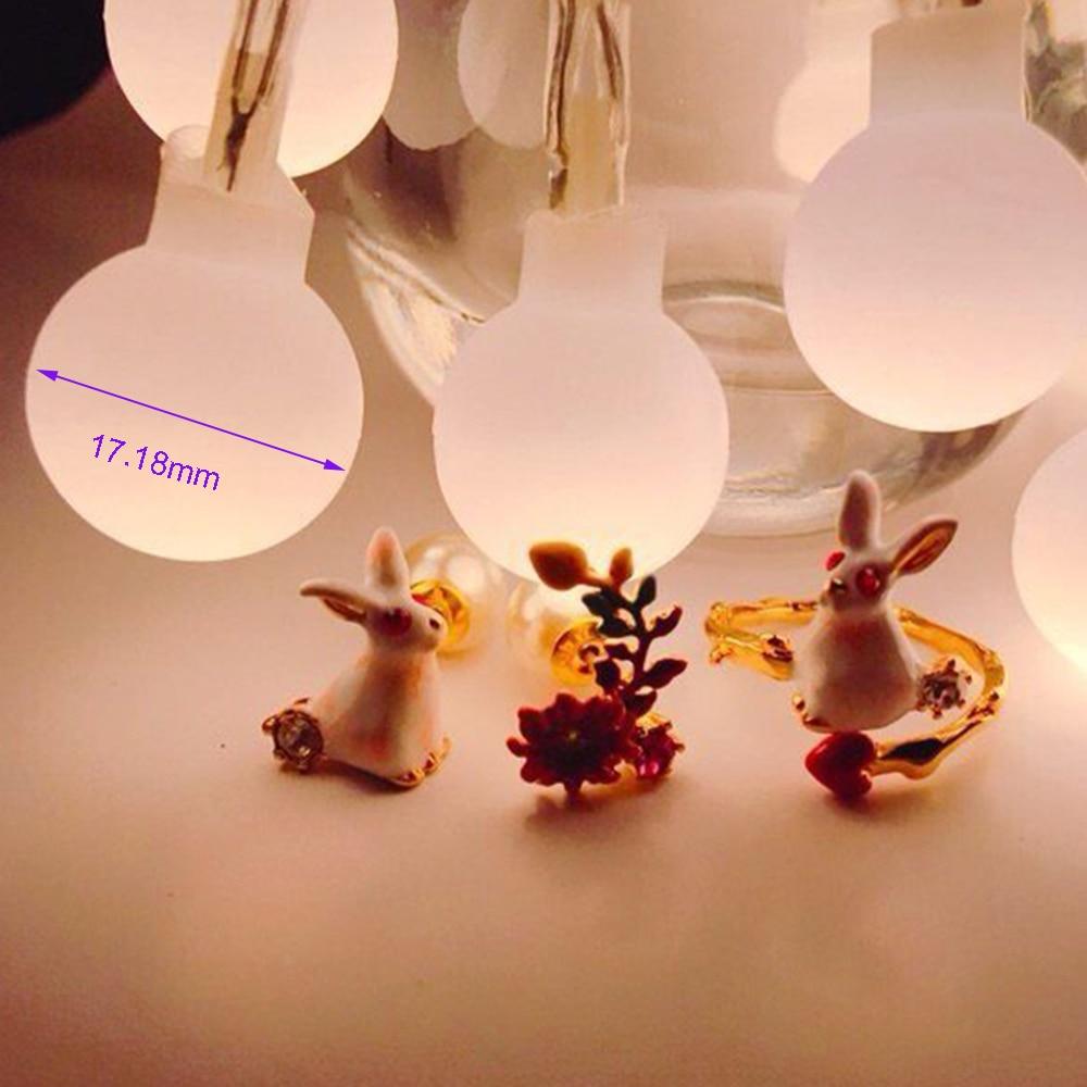 Vita bollar Holiday lights 1-2m 10-20leds Led Ljus sträng Batteri - Festlig belysning - Foto 3