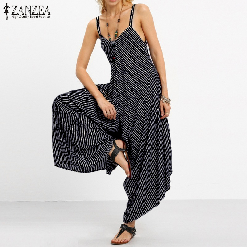 ZANZEA 2018 Long Black Rompers Womens   Jumpsuit   Sexy Strapless Casual Striped Loose Bohemian Beach Wear Backless Summer Overalls
