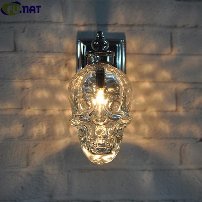 FUMAT rétro industriel Loft lampes murales verre crâne bouteille luminaire créatif Bar applique murale moderne applique murale lampe Chrome