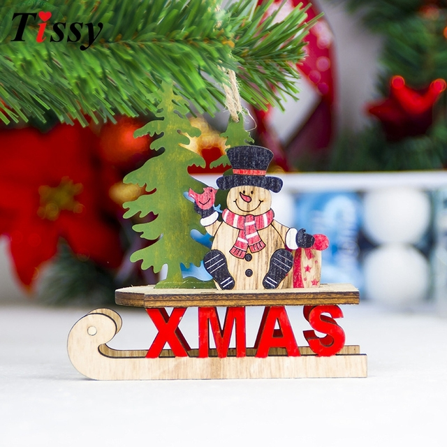 1pc christmas sled santa claussnowman diy xmas tree ornament wooden pendants ornaments for home