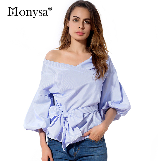 a864e9ee461f New Arrival 2018 Women Blouses Fashion Trends Off Shoulder Shirts White  Blue Red Women Clothing Casual Tops Women With Bow
