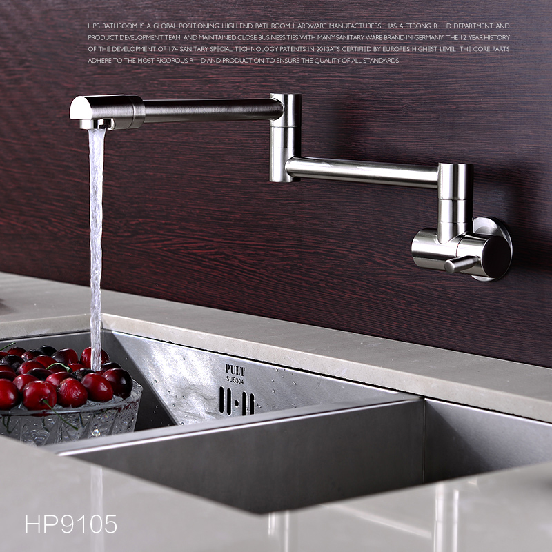 Cold Water Finish Single Handle Folding Kitchen Sink Faucet Wall Mount Chrome Mixer Tap Brass Faucet