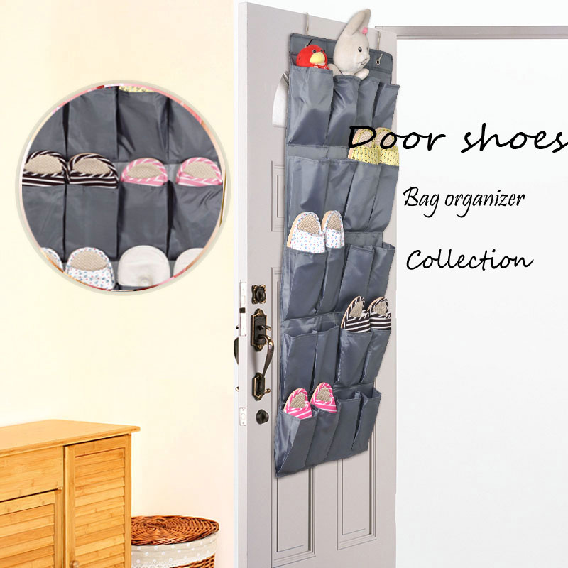 Oven roikkuva säilytyspussi-kenkäjärjestäjä, jossa on 20 osastoa, harmaasarjan ovi- / seinäsäilytysratkaisu