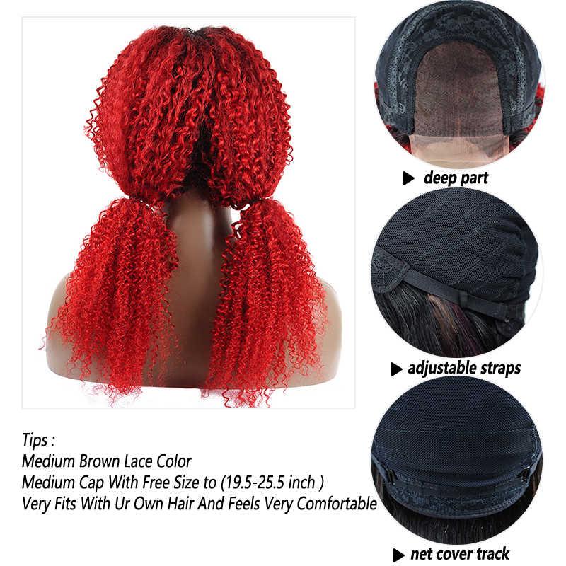 Pinshair 1B 99J кудрявый парик на фронте шнурка черный для женщин 4*4 закрытие малазийские волосы на фронте человеческих волос парик красные волосы не Реми не линять
