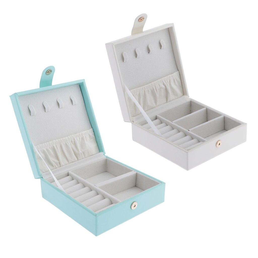 Protable PU Leather Jewelry Box Earrings Jewelry Necklace Bracelet Display Storage Box Jewelry Organizer For Girls Women