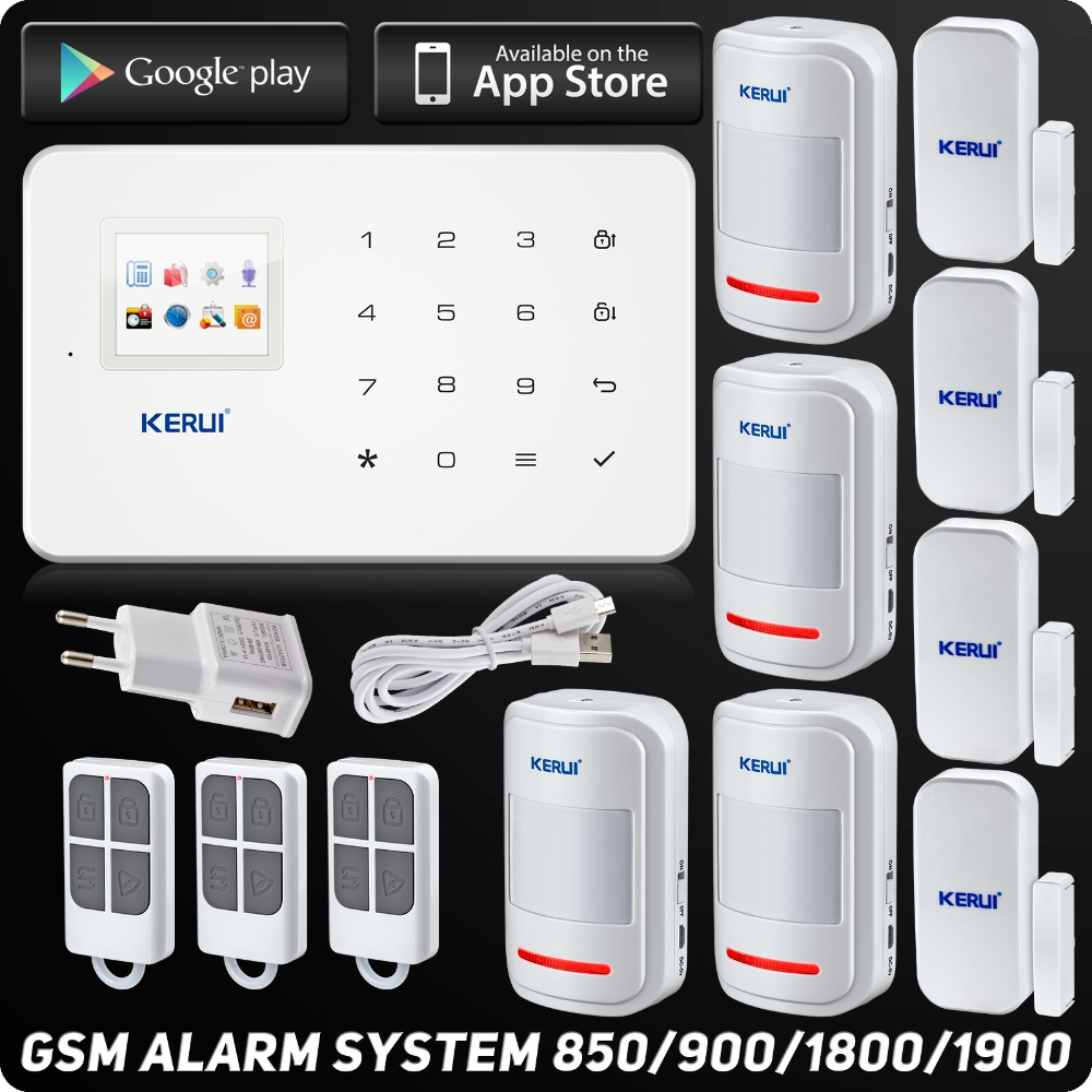 Kerui G18 GSM Alarm System TFT Android IOS APP Touch keypad  Android ISO App Smart Home Burglar Alarm  System DIY Motion Sensor kerui black white intelligent wireless gms sms call home burglar intruder ios android app security alarm system touch keypad