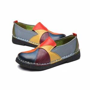 Image 5 - Dongnanfeng Vrouwen Dames Vrouwelijke Vrouw Moeder Schoenen Flats Echt Leer Loafers Gemengde Kleurrijke Non Slip Op Plus Size 35 42