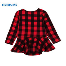 2018 Brand New Newborn Toddler Infant Baby Girls Plaid Romper Jumpsuit Dress Long Sleeve Tops Casual Outfits Checked Clothes(China)