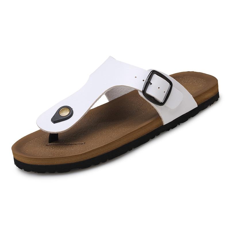 2017 PU Leather Sandals Men Black Brown Flip Flops Casual Flat Sandals  Summer Beach Slipper Men Comfort Design Flip Flops Shoes-in Flip Flops from  Shoes on ...