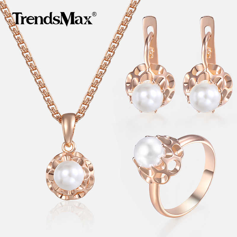 Jewelry Set For Women Girls 585 Rose Gold Pearl Earrings Ring Pendant Necklace Set Fashion Woman Jewelry Wholesale Gifts KGE142