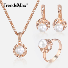 Jewelry Set For Women Girls 585 Rose Gold Pearl Earrings Rin