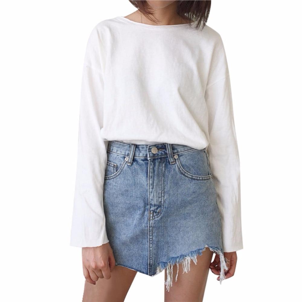 Fashion Summer Pencil Skirt High Waist Washed Women Skirts Irregular Edges Denim All Match Mini Skirts Plus Size S-L
