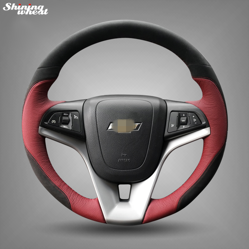 Shining wheat Hand-stitched Black Suede IndianRed Leather Car Steering Wheel Cover for Chevrolet Cruze Aveo color my life car steering wheel sequin steering wheel decoration cover sticker for chevrolet trax cruze 2013 2014 2015 2016