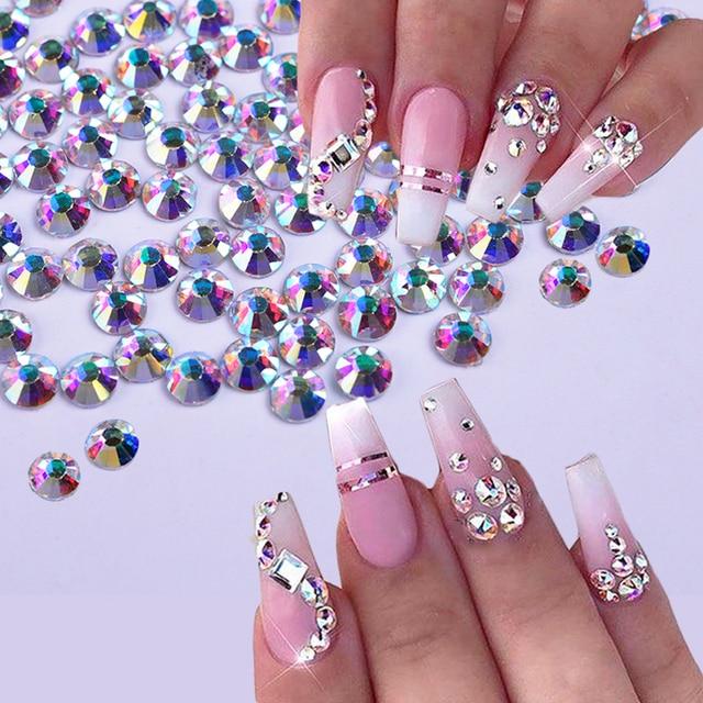 1440Pcs Shiny Crystal Nail Rhinestone AB Silver Flat Back Stone 3D Glitter  Jewelry Glass Charm Diamond Nail Art Decoration TR540 f2c231bab483