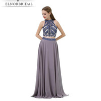 Grey 2 Piece Prom Dresses Floor Length 2017 Modest Beaded Crystal Evening Gowns A Line Special Occasion Party Dress