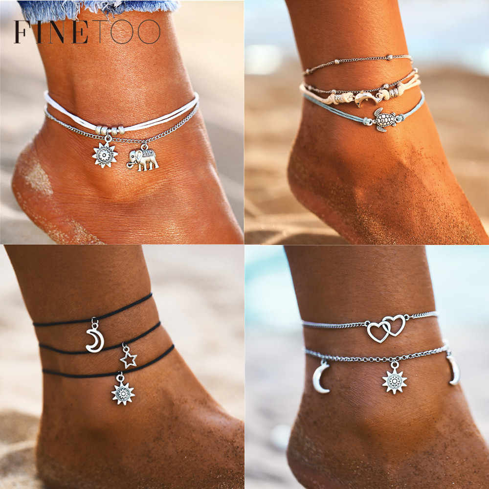 Bohemian Multi Layer Ocean Beach Anklets for Women Trendy Star Moon Heart Starfish Turtle Ankle Bracelet Beach Jewelry 2019