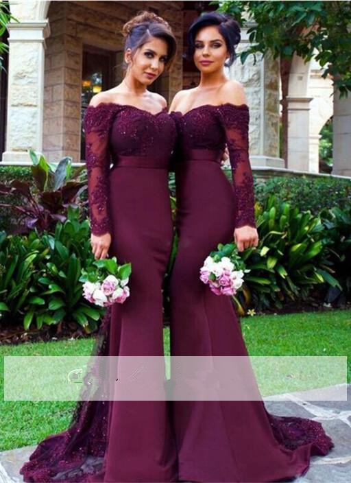 Purple 2019 Cheap Bridesmaid Dresses Under 50 Mermaid V-neck Long Sleeves Lace Beaded Long Wedding Party Dresses For Women