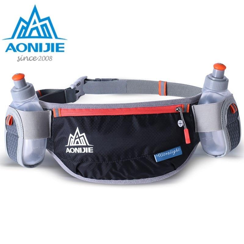 AONIJIE Men Women Running Waist Bag Hydration Belt Bottle Waterproof Jogging Fanny Packs Waist Pack With Two Water Bottle 250ml