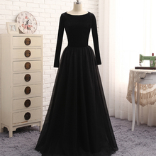 Robe De Soiree Long Sleeves Black Muslim Evening Dress Moroccan Kaftan A Line Top Velvet Dubai Kaftans Abaya Long Party Gowns
