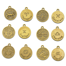 12 Horoscope Constellation Pendants Zodiac Starsign DIY Necklace Women Gold Chain Men Jewelry pendulum Birthday Gift