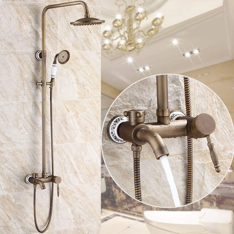 Free Shipping BAKALA antique bronze bathroom rainfall faucets and shower GZ6007