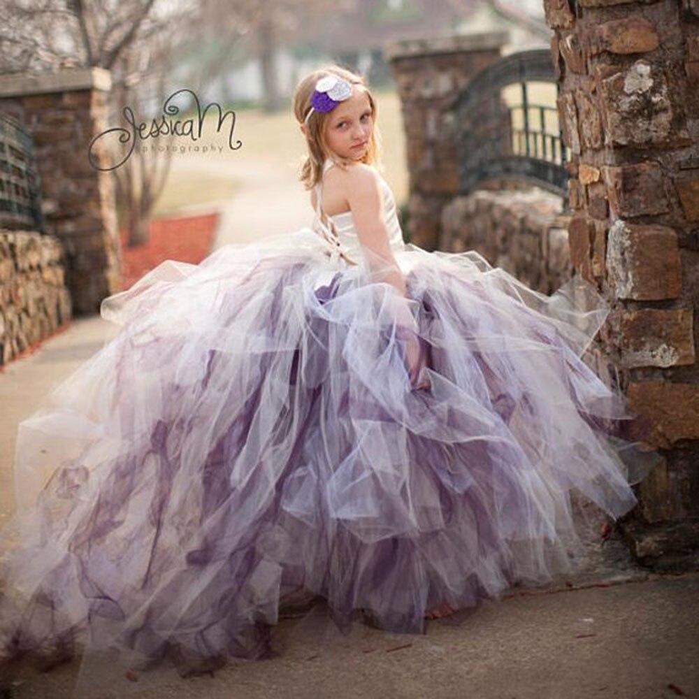 Splendida Abiti fiore per le ragazze con il Treno White Satin Top 3 Strato Vestito Dal Tutu Per La Cerimonia Nuziale Del Partito Di Compleanno PT18