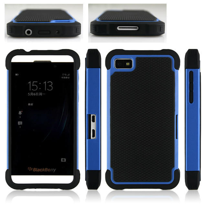 Dual Layer Ballistic Plastic Shockproof Case Silicone Cover For BlackBerry Z10 Hybrid Case Capa Free Shipping