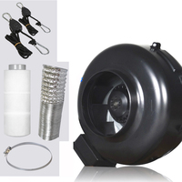 A, 4 Inch Inline Exhaust Fan Blower Centrifugal Fan & Carbon Air Filter Ducting for Grow Kits Growing Greenhouse Duct Fan