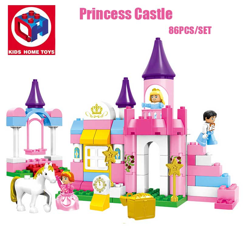Kid's Home Toy Girl's Pink Dream Princess Castle Model Large Particles Building Blocks Bricks Kids DIY Toy Compatible With Duplo kid s home toys large particles happy farm animals paradise model building blocks large size diy brick toy compatible with duplo