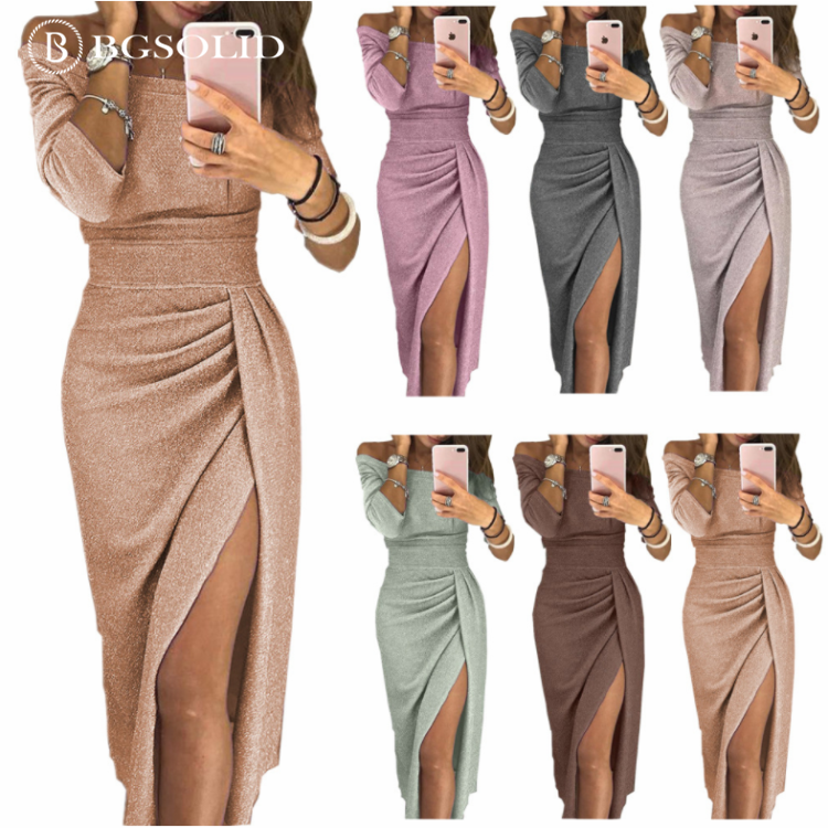 Amazon ladies pack buttocks to open a word to receive dress glittering and translucent formal dress dinner dress.