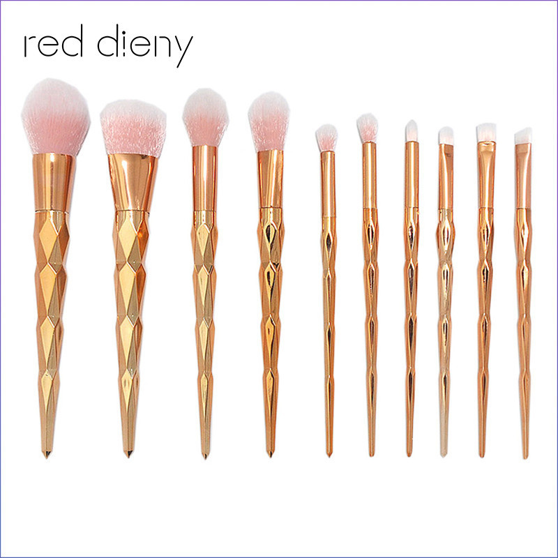 10PCS Rose Gold Make Up Brush Set High Quality Foundation Blusher Powder Brush Tools Flat Eyeliner Eyebrow Makeup Brush Tools