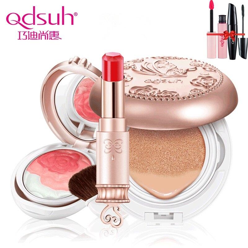 Qdsuh 3pcs/lot Butterfly Love Rose Blush Powder CC Cream Lipstick Foundation Makeup Palette Blusher Highlighter Concealer