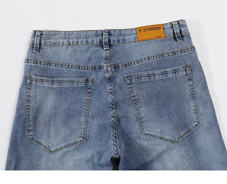 2020 Jeans Men Fashion Business Casual Straight Slim Fit Ultrathin Breathable Stretch Retro Blue Summer Denim Pants Plus Size 40 14