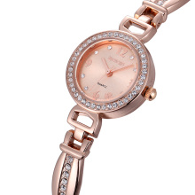 WEIQIN Fashion Rose Gold Watch Luxury Brand Women Dress Watches Steel Rhinestone Quartz Watch Clock Women