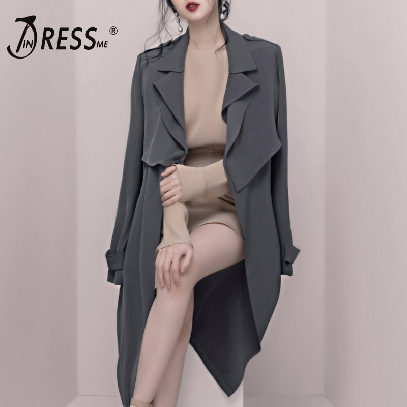 INDRESSME Turn Down Collar Sashes V Neck Belt Winter Women   Trench   Sexy Solid A Line Full Sleeve Long Casual Women Coat 2018 New