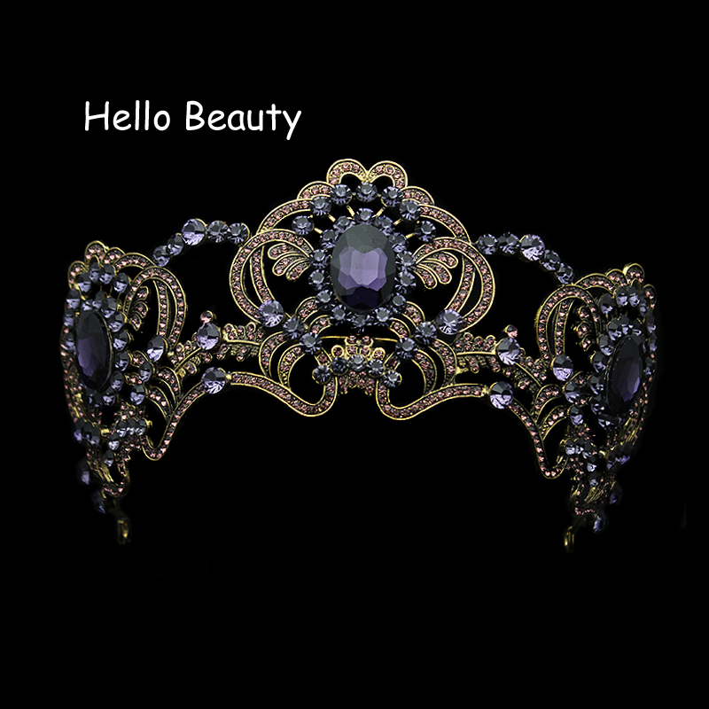 Large Baroque Vintage Purple Crystal Wedding Crown Rhinestone Bridal Queen Tiara For Bride Prom Pageant Party Hair Accessories