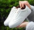 5 .. 2017 primavera aummer nueva zapatos de las mujeres ocasionales del todo-fósforo blanco zapatos planos atan para arriba los zapatos de moda de Corea estudiantes mujeres de los hombres zapatos