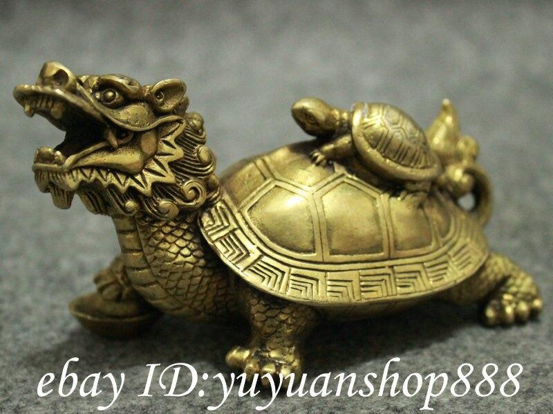 Populaire chinois laiton FengShui longévité Shou Dragon tortue tortue tortue Statue animaux jardin décoration 100% réel laiton - 2