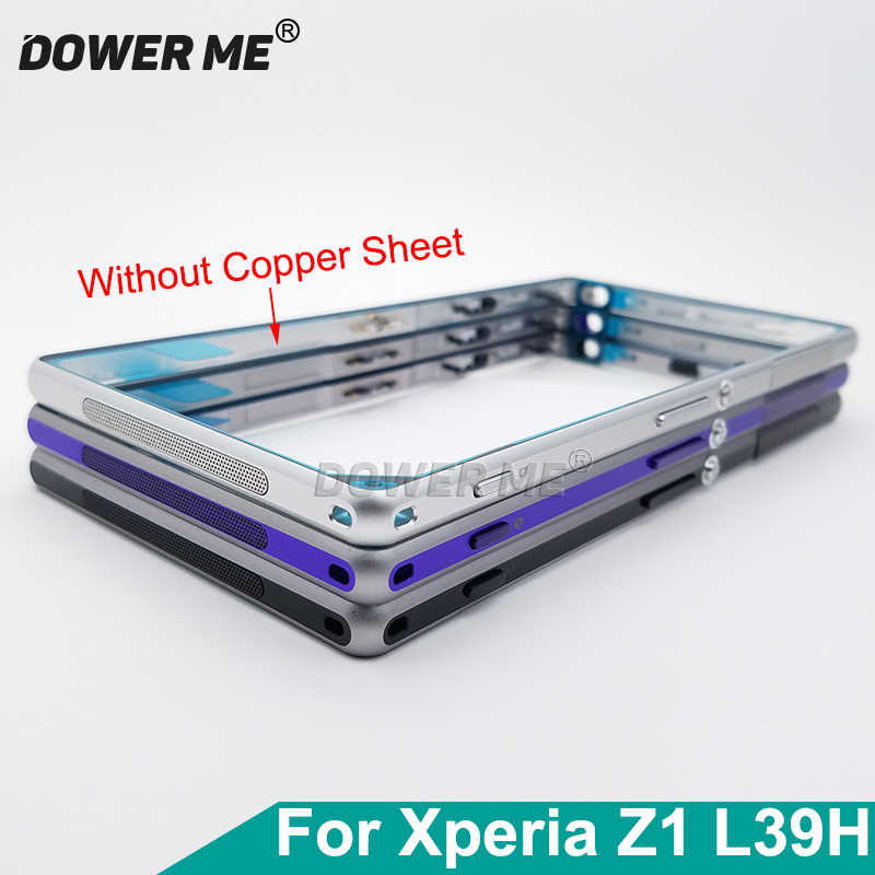 Dower Me Replacement Middle Frame Bracket Panel Metal Chassis Bezel Plate With Dust Plug Cover For Sony Xperia Z1 L39H C6903