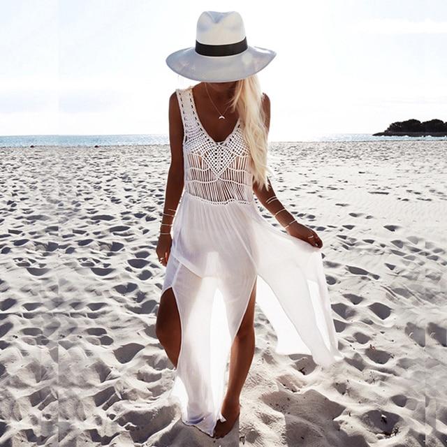 50d73256e1 Biały czeski plaża sukienka z dzianiny drążą perspektywy lato Maxi dekolt w  serek z Hippie Chic