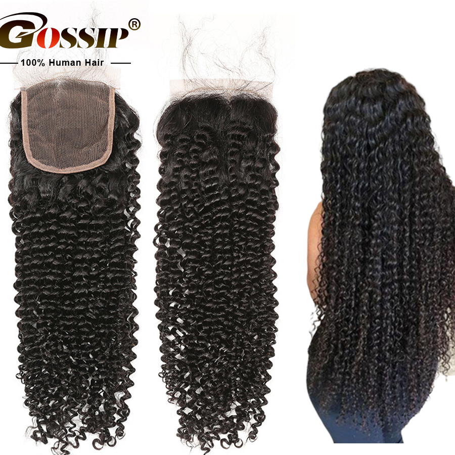 Remy 5x5 Lace Closure Brazilian Kinky Curly Hair Closure Pre Plucked Swiss Lace Closure 100 Human