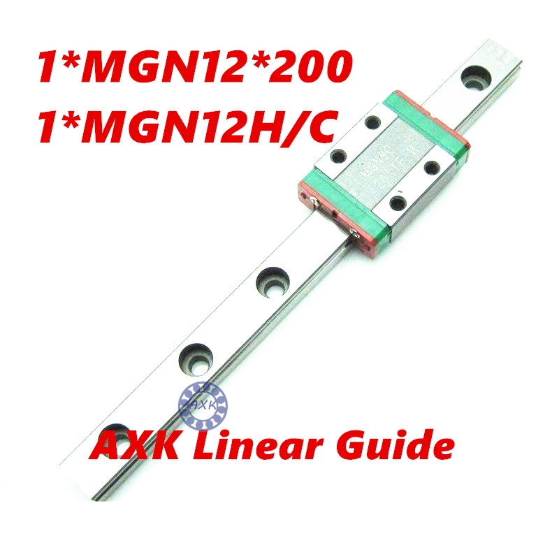 CNC part MR12 12mm linear rail guide MGN12 length 200mm with mini MGN12C linear block carriage miniature linear motion guide way axk mr12 miniature linear guide mgn12 long 400mm with a mgn12h length block for cnc parts free shipping