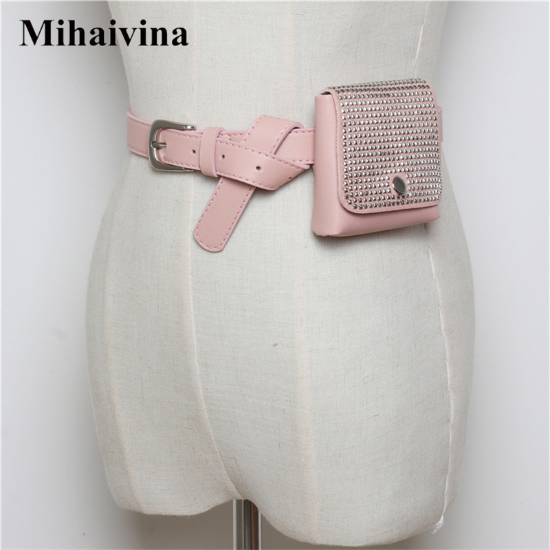 Mihaivina Casual Rivet Mini Waist Pack Female Fashion Black Waist Bag Vintage Women Leather Fanny Pack Small Belt Bags Wholesale mihaivina fashion black leather fanny pack women waist pack casual small waist pouch women leather waist bag bolosa