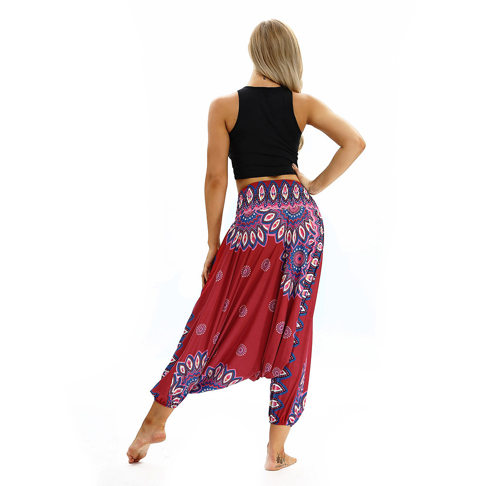 Women Men Pants Casual Woman High Waist Wide Leg Harem Trousers Baggy Boho Loose Aladdin Festival Hippy Jumpsuit Print Lady pant 108