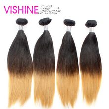 4Pcs Ombre 613 Brazilian Virgin hair Straight Popular Hair Weave Bundles Cheap Human Stema Hair Ombre Brazilian Hair