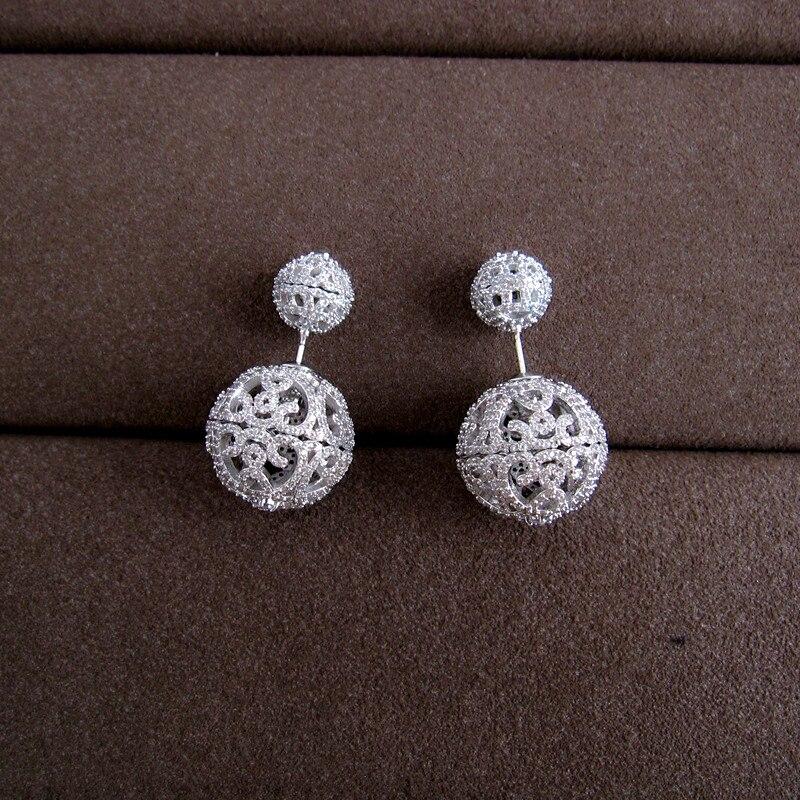 Women earrings,Famous design pave setting cubic zirconia hollow out double balls stud earrings,E9078